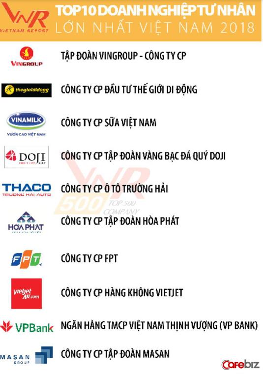 Top 10 doanh nghiệp tư nhân lớn nhất Việt Nam 2018: Vingroup vẫn giữ vị trí số 1, Thế giới Di động giành ngôi vị số 2 từ Thaco - Ảnh 1.